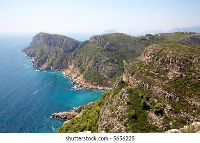 Mountains and water along - Costa Blanca, Moraira, Spain