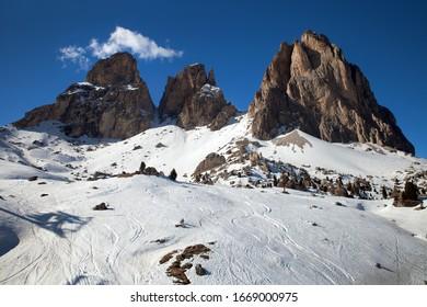 Mountains in winter, Campitello, Dolomites, Italy