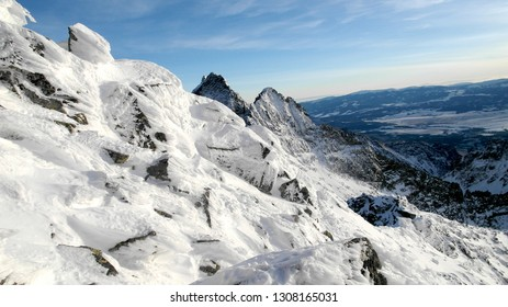 mountains in winter, Tatra mountains, view from Rysy