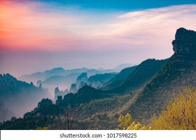 Mountains in Zhangjiajie, China during sunset