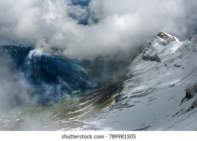 A mountainscape near Schilthorn with rock formation looking like Egyptian Pharaoh.