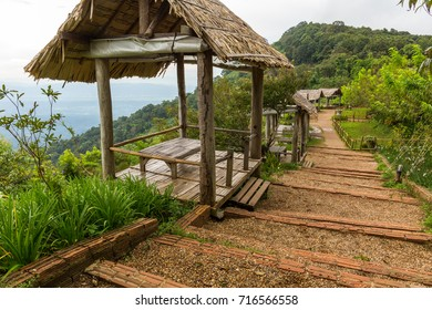 Mountainside huts for viewing the landscape at Mon Chaem in Chiang Mai, Thailand