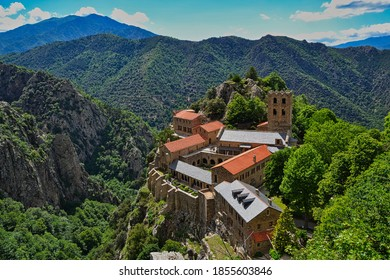 Mountain-top abbey of Saint-Martin-du-Canigou in the French Pyrenees Airial view
