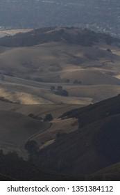 Mountaintop view of California hills near Mt Diablo