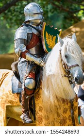 A mounted knight in shining armor readies his lance in preparation for combat. The double headed eagle.