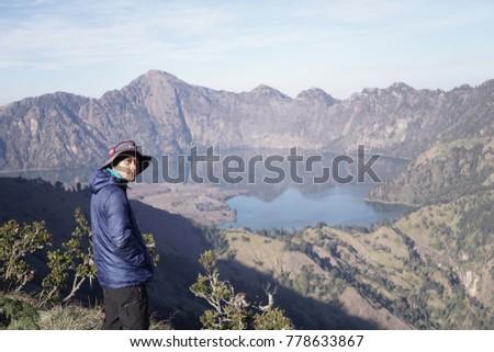 mounth rinjanilombokindonesa october 21 2017 magnificent stock photo