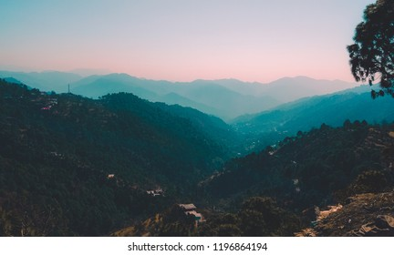 Mountians Lanscape view from Kasauli, India.