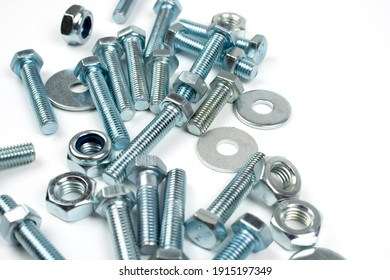 mounting metal bolts and nuts with copy space
