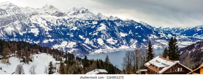 Mounts Eiger, Moench,Jungfrau und Interlaken in the Jungfrau region - Switzerland