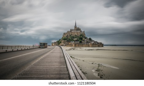 Mount-Saint-Michel and its Bay, France - 05/29/18: The view of Mount-Saint-Michel and its Bay.