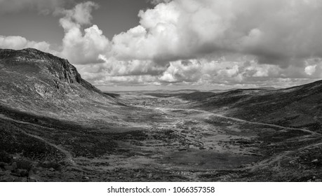 Mourne mountains black and white