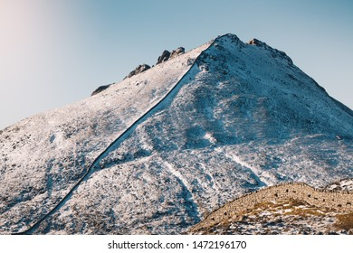 Mourne Mountains, co. Down / Northern Ireland - February 2019 : Sunny day over winter scenery of Mourne Moutinas