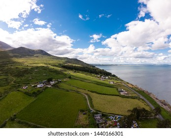 Mourne Mountains, Highest mountains in Northern Ireland. Aerial view of coast of sea and hills in summer time