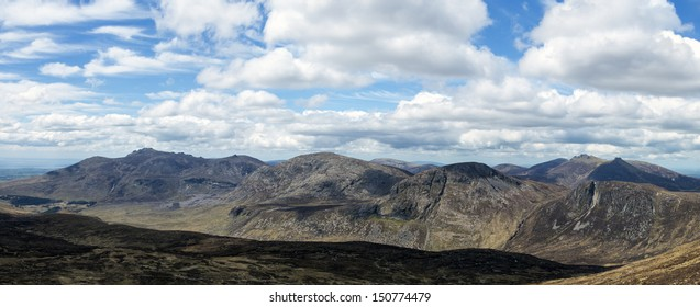 the mourne mountains in ireland a panorama