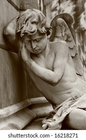 Mourning angel on Recoleta cemetery in Buenos Aires