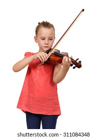 mourning girl with a violin on white background