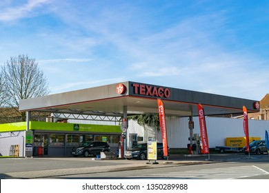Mouscron,BELGIUM-March 24,2019: View of Texaco petrol stations.Texaco is an American oil subsidiary of Chevron Corporation,dealing in the distribution and sale of automotive fuels and oils.