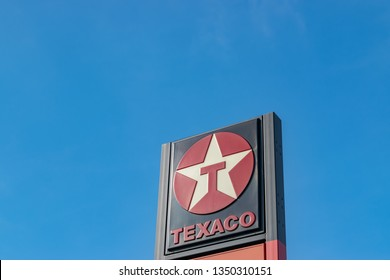 Mouscron,BELGIUM-March 24,2019:View of the Texaco brand logo.Texaco is an American multinational oil subsidiary of Chevron Corporation,dealing in the distribution and sale of automotive fuels and oils
