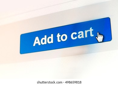 """Mouse Clicking """"Add to cart"""" button for internet shopping in an e-commerce website"""