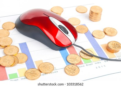 Mouse and coin on financial graph