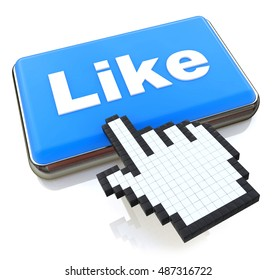 Mouse hand cursor on like button in the design of information related to internet. 3d illustration