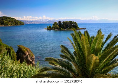 Mouse Island off the coast of Corfu in Greece. Beautiful summer view among green plants and the sea