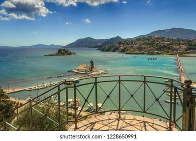 Mouse Island and the Vlacherna Monastery on the Kanoni peninsula of Corfu, Kerkyra. Greece.
