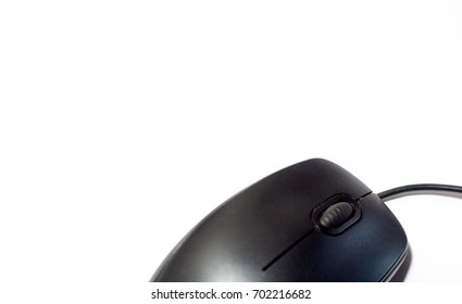 mouse over white background. top view. copy space