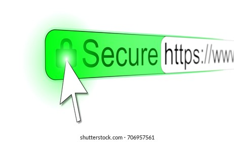 Mouse pointer clicking green padlock on a secure https website address bar
