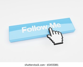 A mouse pointer hovering over a button that says follow me.