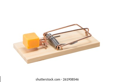 Mouse trap baited with a large piece of cheddar cheese.  Oblique view.  Studio close-up isolated on white background.  Concepts could include risk, reward, danger, temptation, or others.
