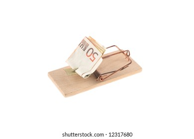 Mouse trap with money as a bait on white background saved with clipping path