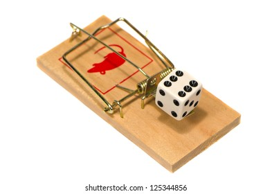 mousetrap with casino dice concept isolated on white background