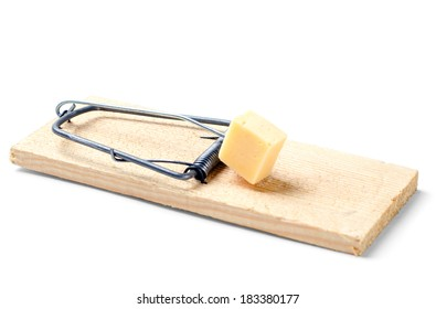 mousetrap with cheese on white