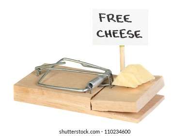 Mousetrap with free cheese sign entrapment concept