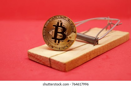 Mousetrap with gold bitcoin on red background. Soap bubble crypto currency. Risks and dangers of investing to bitcoin