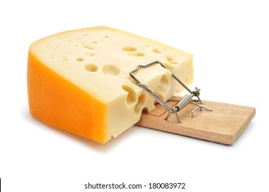 mousetrap with a too large piece of cheese on a white background