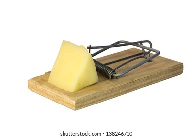 Mousetrap with a piece of cheese