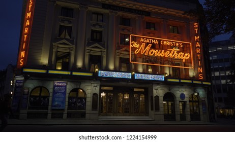 The Mousetrap at St Martin's Theatre, London, United Kingdom. October 9, 2018.