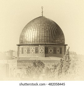 Mousque of Al-aqsa (Dome of the Rock) in Old Town - Jerusalem, Israel (stylized retro)
