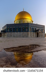 Mousque of Al-aqsa (Mescid-i Aksa) in Old Town of Jerusalem - Palestine. Golden dome of the rock.