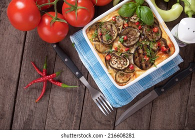 Moussaka dish, greek casserole with minced meat and aubergine