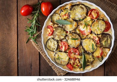 Moussaka (eggplant casserole) - a traditional Greek dish. Top view