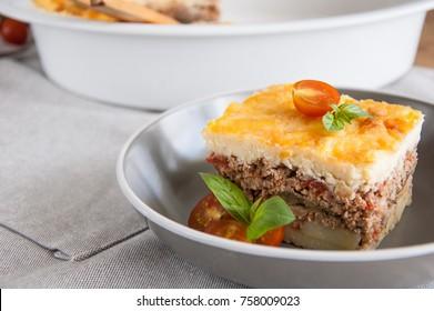 Moussaka. Traditional Greek eggplant casserole