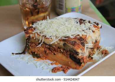 Moussaka,a traditional Greek dish. Traditional lunch with musaka.