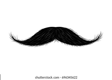 Moustache isolated on white. Raster copy.