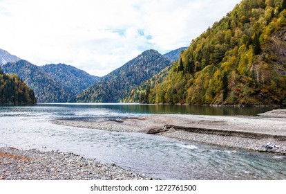 Moutain lake Little Ritsa (Riza), Abkhazia, Caucasus mountains