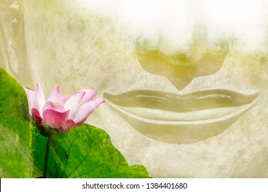 The mouth of the Buddha and the lotus flower Is a symbol of the words or teachings of the Lord Buddha Which is the main principle of Buddhism