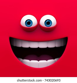Mouth of character on a red background. Concept mimicry face of a cartoon McDonald's box. 3d render.