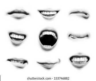 Mouth emotion set